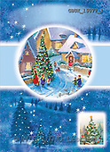 Stephen, CHRISTMAS LANDSCAPE, paintings, village, tree, people(GBUK15077/1,#XL#)