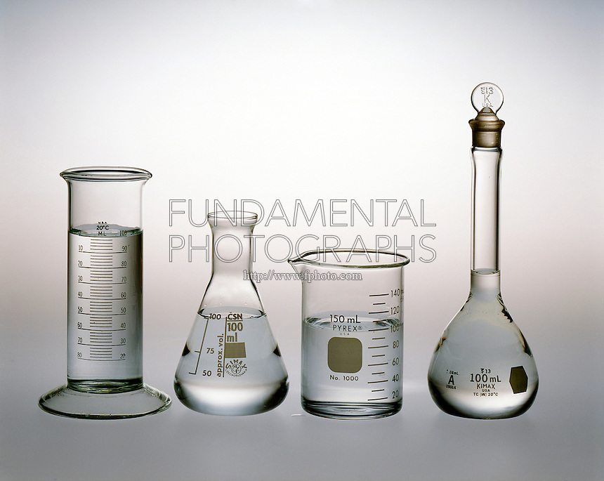 WATER TAKES ON SHAPE OF CONTAINER<br /> All Samples Contain 100ml Of Water<br /> Liquids fill containers, conforming to their shape, starting with the lowest reachable part of the container.