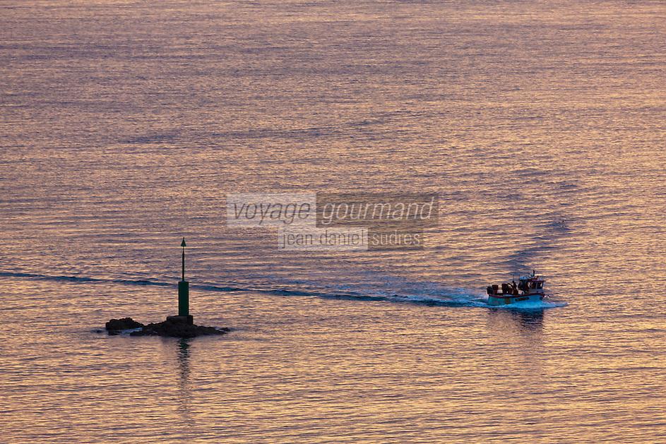 Europe/France/Normandie/Basse-Normandie/50/Manche/Presqu'île de la Hague/Goury : retour au port dans la lumière du soir