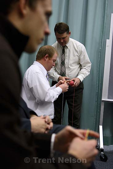 Thad Hunt teaching elders to knit leper bandages. Bryan Ward elders quorum. LDS Church<br />