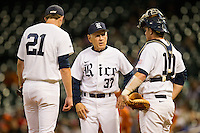 Rice Owls head coach Wayne Graham #37 has a talk with catcher Craig Manuel #10 and starting pitcher Austin Kubitza #21 during the second inning of the game against the Texas Longhorns at Minute Maid Park on March 2, 2012 in Houston, Texas.  The Longhorns defeated the Owls 11-8.  Brian Westerholt / Four Seam Images
