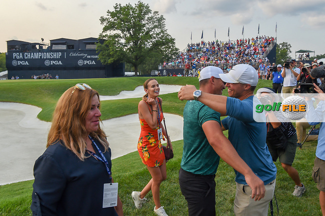 Brooks Koepka (USA) is congratulated for winning the 100th PGA Championship at Bellerive Country Club, St. Louis, Missouri. 8/12/2018.<br /> Picture: Golffile   Ken Murray<br /> <br /> All photo usage must carry mandatory copyright credit (© Golffile   Ken Murray)