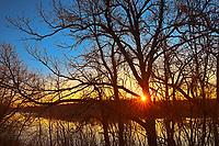 Red River at sunrise, Winnipeg, Manitoba, Canada