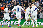 Isco Alarcon,Garet Bale, Cristiano Ronaldo and Alvaro Morata  of Real Madrid celebrates after scoring a goal during the match of Spanish La Liga between Real Madrid and UD Las Palmas at  Santiago Bernabeu Stadium in Madrid, Spain. March 01, 2017. (ALTERPHOTOS / Rodrigo Jimenez)