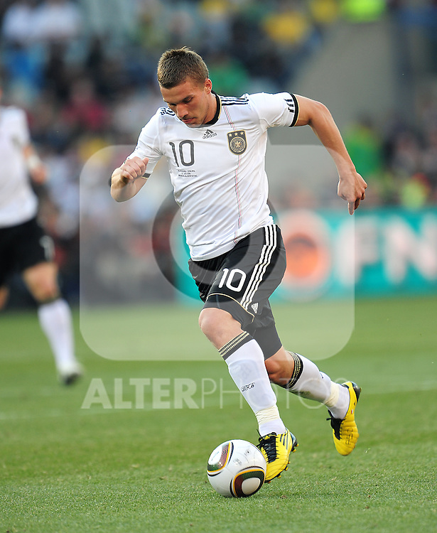 Lukas Podolski during the 2010 World Cup Soccer match between England and Germany in a group 16 match played at the Freestate Stadium in Bloemfontein South Africa on 27 June 2010.