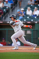 Norfolk Tides right fielder Dariel Alvarez (12) at bat during a game against the Buffalo Bisons on July 18, 2016 at Coca-Cola Field in Buffalo, New York.  Norfolk defeated Buffalo 11-8.  (Mike Janes/Four Seam Images)