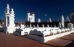 Roof terrace of the neoclassical monastery and convent San Felipe de Neri, founded in the 18th century in the city of Sucre,  Sucre is known as the 'White City' because many of its buildings are painted white.  The city was declared a UNESCO World Heritage Site in 1991.