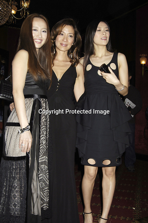 """Actresses Youki Kudoh, Michelle Yeoh and Ziyi Zhang ..arriving at The New York Premiere of """" Memoirs Of A Geisha """"  on December 6. 2005 at The Ziegfeld Theatre...Photo by Robin Platzer, Twin Images.."""