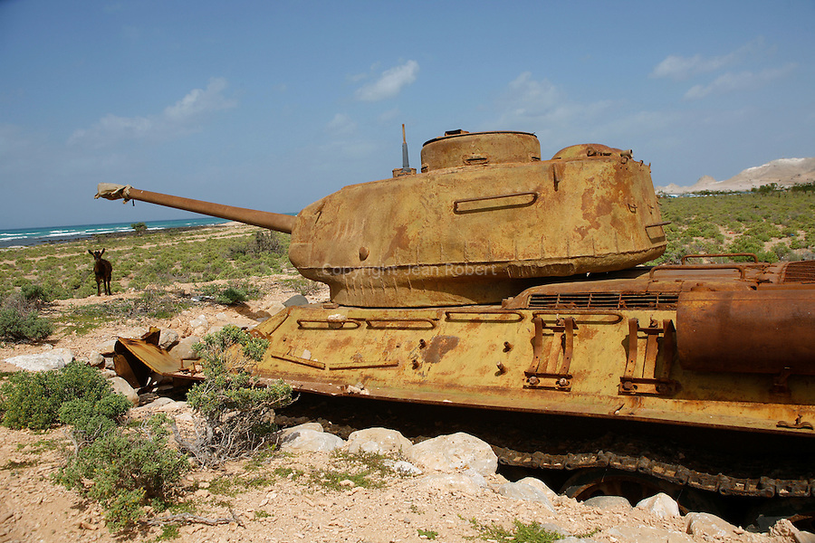 T34 soviet tank.The island was occupied by the russian army till 1990. Socotra Yemen