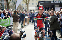 Philippe Gilbert (BEL/BMC) coming to the start from the sign-on stage<br /> <br /> 79th Fl&egrave;che Wallonne 2015
