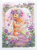 Interlitho, Arthur, CUTE ANIMALS, paintings, bear, flowers(KL4208,#AC#)
