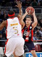 Caja Laboral Baskonia's Nemanja Bjelica (r) and CAI Zaragoza's Joseph Jones during Spanish Basketball King's Cup match.February 07,2013. (ALTERPHOTOS/Acero)