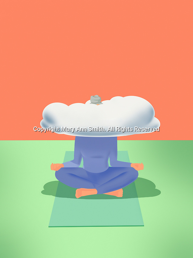 Woman practising yoga with head in the clouds