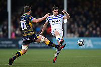 Freddie Burns of Bath Rugby puts boot to ball. Gallagher Premiership match, between Worcester Warriors and Bath Rugby on January 5, 2019 at Sixways Stadium in Worcester, England. Photo by: Patrick Khachfe / Onside Images