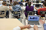 November 15, 2011. Mooresville, NC.. Students in a 5th grade science class at East Mooresville Intermediate Schoolwork on their school issued laptops to complete an in class assignment. Many of the lessons are done on the computer and turned in electronically.. The Mooresville school system has become nationally known for being on the cutting edge of using technology as an educational tool. Starting in 3rd grade, each student is issued their own laptop that they will use in class and at home to further their learning.