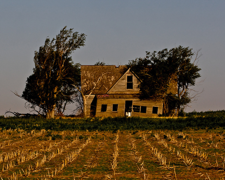 An Abandoned Farmhouse Stands In Field East Of Wright Ford County Kansas