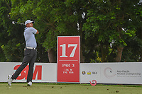 KK LIMBHASUT (THA) watches his tee shot on 17 during Rd 3 of the Asia-Pacific Amateur Championship, Sentosa Golf Club, Singapore. 10/6/2018.<br /> Picture: Golffile | Ken Murray<br /> <br /> <br /> All photo usage must carry mandatory copyright credit (© Golffile | Ken Murray)