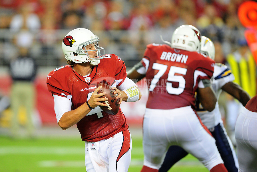 Aug. 27, 2011; Glendale, AZ, USA; Arizona Cardinals quarterback (4) Kevin Kolb against the San Diego Chargers during a preseason game at University of Phoenix Stadium. Mandatory Credit: Mark J. Rebilas-
