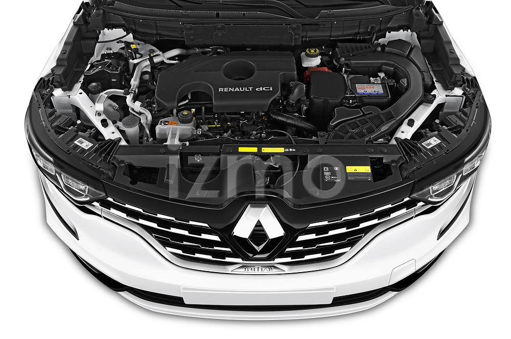 Car stock 2020 Renault Koleos Initiale Paris 5 Door SUV engine high angle detail view