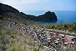The peleton along the coast during Stage 8 of the 2018 Giro d'Italia, a flat stage running 209km from Praia a Mare to Montevergine di Mercogliano, Italy. 12th May 2018.<br /> Picture: LaPresse/Fabio Ferrari | Cyclefile<br /> <br /> <br /> All photos usage must carry mandatory copyright credit (&copy; Cyclefile | LaPresse/Fabio Ferrari)