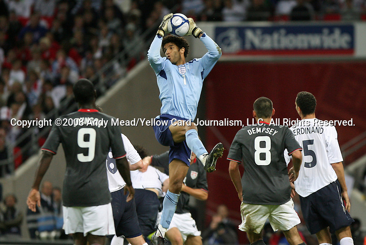 28 May 2008: David James (ENG) (1) pulls down the ball in a crowd. The England Men's National Team defeated the United States Men's National Team 2-0 at Wembley Stadium in London, England in an international friendly soccer match.