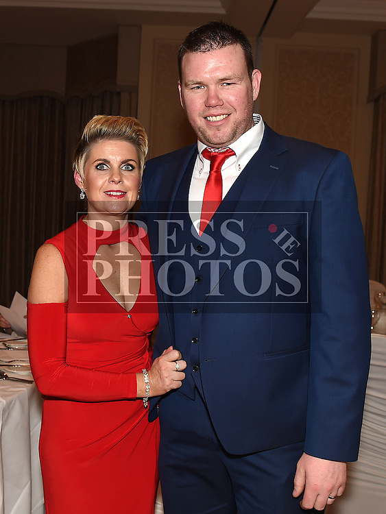 Chairperson of Ardee Concert Band Dermot Murray and his wife Lorraine who won the Best Community Group Award at the Baile Atha Fherdia Traders Awards in the Nuremore hotel Carrickmacross. Photo:Colin Bell/pressphotos.ie
