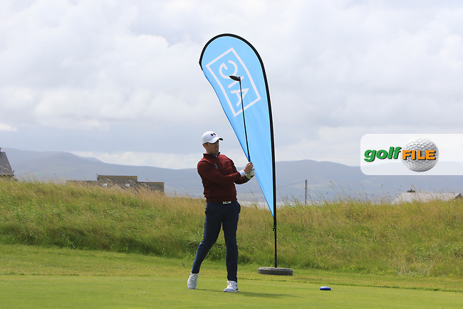 Darragh Walsh (Castletroy) on the 1st tee during the Munster Final of the AIG Barton Shield at Tralee Golf Club, Tralee, Co Kerry. 12/08/2017<br /> Picture: Golffile | Thos Caffrey<br /> <br /> <br /> All photo usage must carry mandatory copyright credit     (&copy; Golffile | Thos Caffrey)