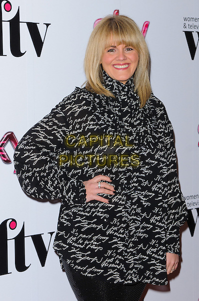 Sally Lindsay .Women In Film & Television Awards 2012 held at the Hilton, London, England, UK, 7th December 2012..half length black  hand on hip   print .CAP/CJ.©Chris Joseph/Capital Pictures.