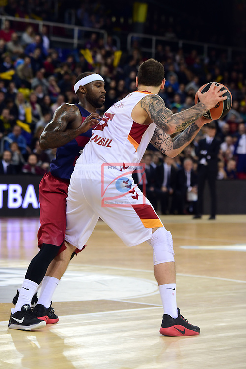 Turkish Airlines Euroleague 2016/2017.<br /> Regular Season - Round 22.<br /> FC Barcelona Lassa vs Galatasaray Odeabank Istanbul: 62-69.<br /> Tyrese Rice vs Vladimir Micov.