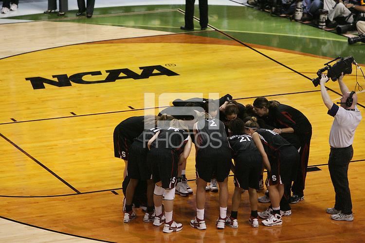 8 April 2008: Stanford Cardinal (not in order) Melanie Murphy, Jayne Appel, Michelle Harrison, JJ Hones, Candice Wiggins, Cissy Pierce, Kayla Pedersen, Hannah Donaghe, Rosalyn Gold-Onwude, Jeanette Pohlen, Ashley Cimino, Morgan Clyburn, and Jillian Harmon during Stanford's 64-48 loss against the Tennessee Lady Volunteers in the 2008 NCAA Division I Women's Basketball Final Four championship game at the St. Pete Times Forum Arena in Tampa Bay, FL.
