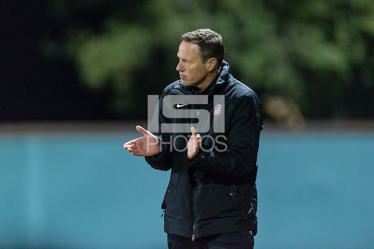 November 13, 2013:  Head Coach Jeremy Gunn during the Stanford vs Cal men's soccer match in Stanford, California.  Stanford won 2-1 in overtime.