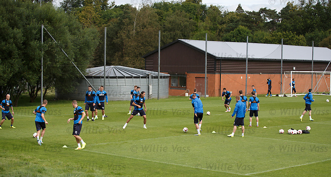 Rangers players practising high tempo short ball passing