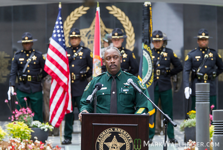 Orange County Sheriff Jerry Demings gives the keynote address during the Florida Sheriffs Association 2017 Law Enforcement Memorial Ceremony at the Florida Sheriffs Association in Tallahassee, Florida.