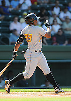 Outfielder Carlos Mesa (23) of the West Virginia Power, a Pittsburgh Pirates affiliate, in a game against the Greenville Drive on May 20, 2012, at Fluor Field at the West End in Greenville, South Carolina. Greenville won 6-5. (Tom Priddy/Four Seam Images).