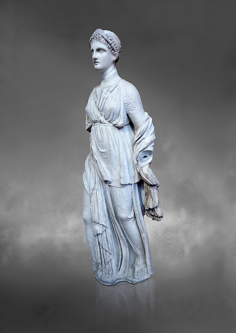 Statue of Artemis, found at the 'House of Diadoumenos' on Delos. Pariam marble, Circa 100 BC. Athens Archaeological Museum, Cat No 1829. Against grey<br /> <br /> Artemis wears a chiton, a girt and himation. The diagonal strap ocross her breast will have held the quiver full of arrows. The Goddess's beauty is stressed by her elaborate coiffure.