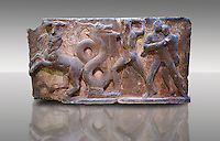 Delphi theatre freize which decorated the proscenium  depicting scenes from the Labours of Heracles in the garden of the Hesperides showing a centaur. Classicist 1st centurt AD provincial art. Delphi Archaeological Museum.