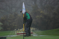Greenkeepers squeegee the greens during the final round of the Peter McEvoy Trophy played at Copt Heath Golf Club, Solihull, England. 12/04/2018.<br /> Picture: Golffile | Phil Inglis<br /> <br /> <br /> All photo usage must carry mandatory copyright credit (&copy; Golffile | Phil Inglis)
