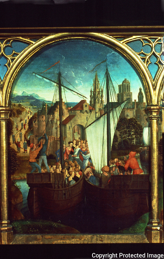 Paintings:  Hans Memling--Ursula shrine, Debarcation at Basel.  Reference only.