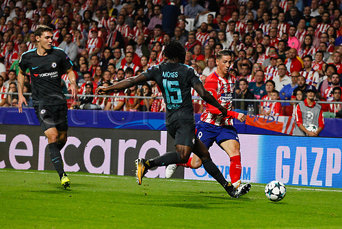 27th September 2017, Wanda Metropolitano, Madrid, Spain; UEFA Champions League, Atletico Madrid versus Chelsea; Victor Moses (15) Chelsea clears the ball from Fernando Torres (9) Atletico de Madrid