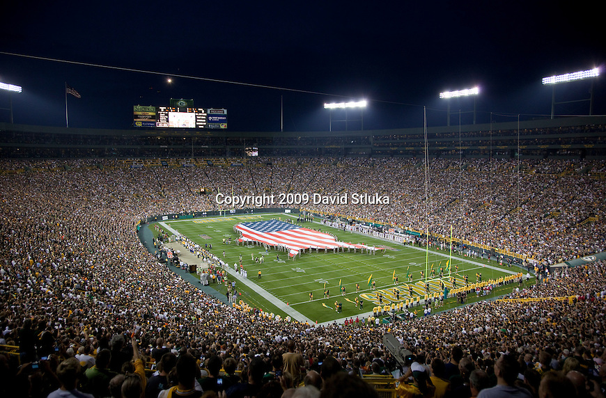 A general view of Lambeau Field during the National Anthem of the Green Bay Packers NFL football game against the Chicago Bears at Lambeau Field on September 13, 2009 in Green Bay, Wisconsin. The Packers won 21-15. (AP Photo/David Stluka)
