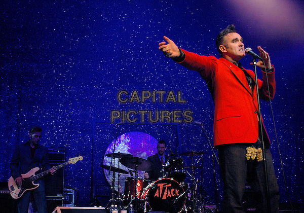 "MORRISSEY.Morrissey performs live to a sold out crowd to promote his upcoming album ""You are the Quarry"" The show was the first of his Southern California performances, at The Grove of Anaheim,.18th April 2004.half length half-length concert gig on stage singing red jacket music.*UK sales only*.www.capitalpictures.com.sales@capitalpictures.com.©Capital Pictures"