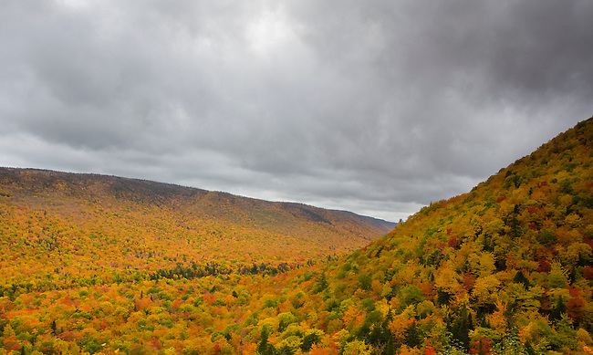This Valley explodes with fall colors along the Cabot Trail, Cape Breton Highlands National Park, Nova Scotia, Canada.  Photo by Gus Curtis.