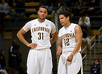 Emerson Murray of California talks with Brandon Smith of California during the game against SJSU at Haas Pavilion in Berkeley, California on December 7th, 2011.   California defeated San Jose State, 81-62.