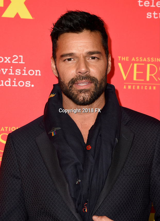 "HOLLYWOOD - JANUARY 8: Ricky Martin attends the Red Carpet Premiere Event for FX's ""The Assassination of Gianni Versace: American Crime Story"" at ArcLight Hollywood on January 8, 2018, in Hollywood, California. (Photo by Scott Kirkland/FX/PictureGroup)"