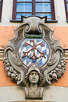 Crest showing Bavarian colors, Regensburg, Germany