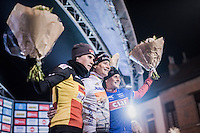 Marianne Vos (NED) wins in her 2nd race back after a 2 year hiatus. She beats top contenders Sanne Cant (BEL/Enertherm-Beobank) & Katerina Nash (CZE/Luna)<br /> <br /> Elite Women's race<br /> Superprestige Diegem 2016