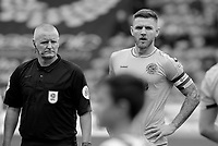Fleetwood Town's Ashley Eastham looks on before kick off<br /> <br /> Photographer David Shipman/CameraSport<br /> <br /> The EFL Sky Bet League One - Doncaster Rovers v Fleetwood Town - Saturday 6th October 2018 - Keepmoat Stadium - Doncaster<br /> <br /> World Copyright © 2018 CameraSport. All rights reserved. 43 Linden Ave. Countesthorpe. Leicester. England. LE8 5PG - Tel: +44 (0) 116 277 4147 - admin@camerasport.com - www.camerasport.com