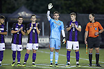 High Point Panthers goalie Keegan Meyer (1) waves to the crowd during player introductions prior to the game against the Wake Forest Demon Deacons at W. Dennie Spry Soccer Stadium on October 9, 2018 in Winston-Salem, North Carolina. The Demon Deacons defeated the Panthers 4-2.  (Brian Westerholt/Sports On Film)