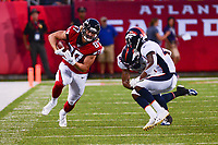 Ohio, Canton - August 1, 2019: Atlanta Falcons tight end Jaeden Graham #87 runs the ball during a pre-season game against the Denver Broncos at the Tom Benson stadium in Canton, Ohio August 1, 2019. This game marks start of the 100th season of the NFL. (Photo by Don Baxter/Media Images International)