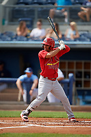 Palm Beach Cardinals Jose Martinez (15) during a Florida State League game against the Charlotte Stone Crabs on April 14, 2019 at Charlotte Sports Park in Port Charlotte, Florida.  Palm Beach defeated Charlotte 5-3.  (Mike Janes/Four Seam Images)
